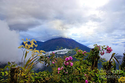 Patchwork Quilts Photograph - Tungurahua Volcano In The Ecuadorian Andes by Al Bourassa
