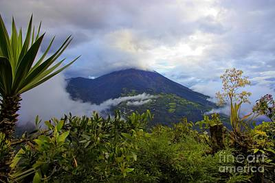 Patchwork Quilts Photograph - Tungurahua Volcano Shrouded In Cloud by Al Bourassa