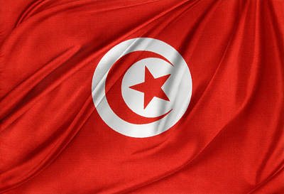 Tunisia Flag Art Print by Les Cunliffe