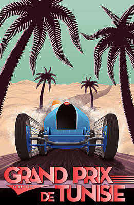Tunisia Grand Prix 1933 Art Print by Georgia Fowler