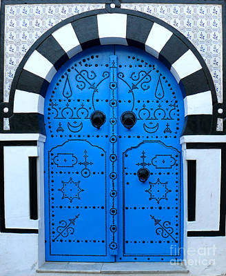 Photograph - Tunisian Blue Door by Jeanne  Woods