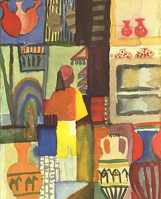 Old Pitcher Painting - Tunisian Market by August Macke