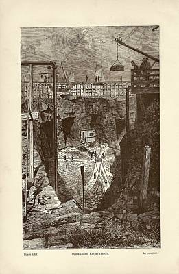 Tunnel Construction Print by Art And Picture Collection/new York Public Library