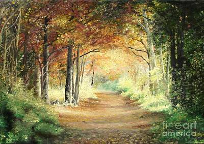 Art Print featuring the painting Tunnel In Wood by Sorin Apostolescu