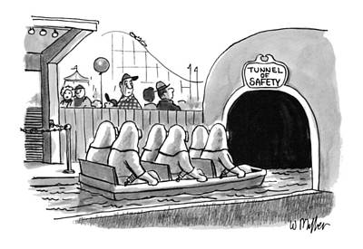 Amusement Park Drawing - Tunnel Of Safety by Warren Miller