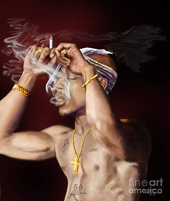 Tupac - Burning Lights Series  Art Print by Reggie Duffie