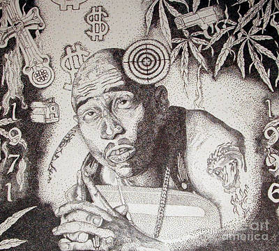 All In The Family Drawing - Tupac by Kryztina Spence