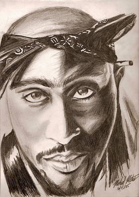 Drawing - Tupac by Michael Mestas