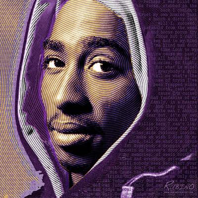 Landmarks Painting Royalty Free Images - Tupac Shakur and Lyrics Royalty-Free Image by Tony Rubino