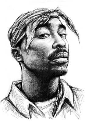 Abstract Pop Drawing - Tupac Shakur Art Drawing Sketch Portrait by Kim Wang