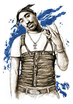Music Artist Painting - Tupac Shakur Colour Drawing Art Poster by Kim Wang