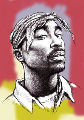 Music Artist Painting - Tupac Shakur Morden Art Drawing Portrait Poster by Kim Wang