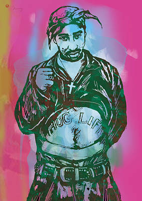 Music Artist Drawing - Tupac Shakur Pop Art Poster by Kim Wang