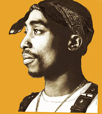 Making Drawing - Tupac Shakur Stylised Pop Art Poster by Kim Wang