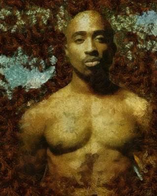 Painting - Tupac Shakur - Tribute by Derek Gedney
