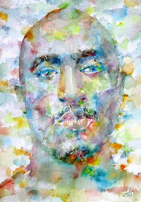 Rap Painting - Tupac Shakur - Watercolor Portrait by Fabrizio Cassetta