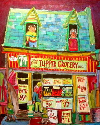 Litvack Painting - Tupper Grocery 1960's by Michael Litvack