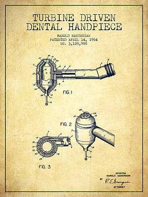 Excavator Digital Art - Turbine Driven Dental Handpiece Patent From 1964 - Vintage by Aged Pixel