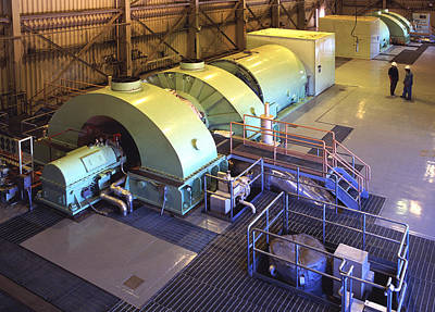 Steam Turbine Wall Art - Photograph - Turbine Room - Geothermal Power Plant by Theodore Clutter