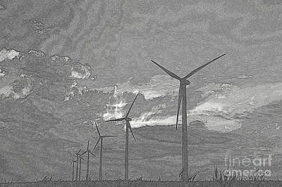 Art Print featuring the photograph Turbines In Pencil by Jim McCain