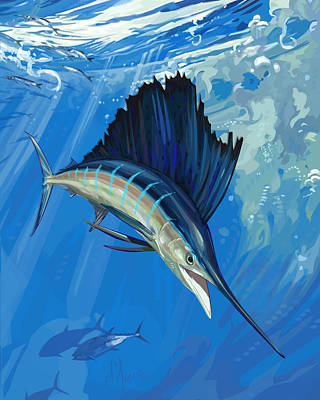 Sailfish Digital Art - Turbulence by Tom Dauria