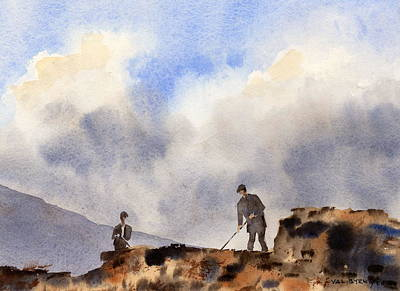 Turf Painting - Turf Cutters Achill Mayo by Val Byrne