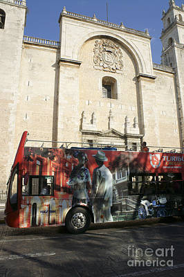 Photograph - Turibus And Cathedral Merida Mexico by John  Mitchell