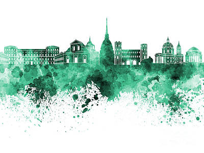 Turin Skyline In Green Watercolor On White Background Art Print by Pablo Romero