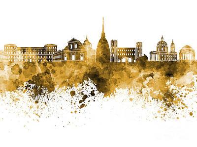 Turin Skyline In Orange Watercolor On White Background Art Print by Pablo Romero