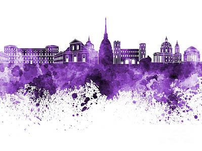 Turin Skyline In Purple Watercolor On White Background Art Print by Pablo Romero