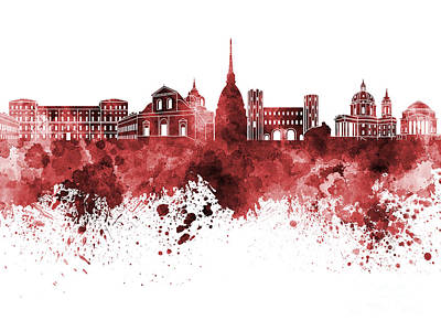 Turin Skyline In Red Watercolor On White Background Art Print by Pablo Romero