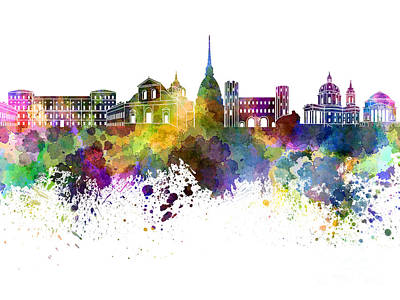 Turin Skyline In Watercolor On White Background Art Print by Pablo Romero