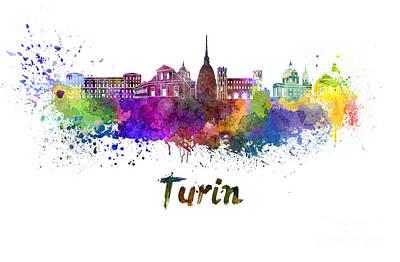 Turin Skyline In Watercolor Art Print by Pablo Romero