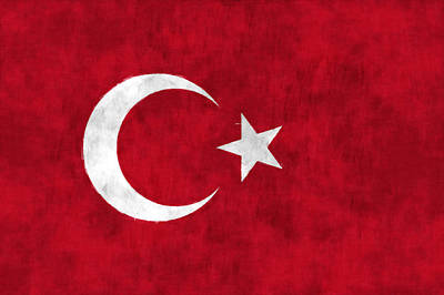 Northern Africa Digital Art - Turkey Flag by World Art Prints And Designs