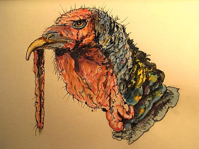 Turkey Painting - Turkey Head Bird by Juan  Bosco