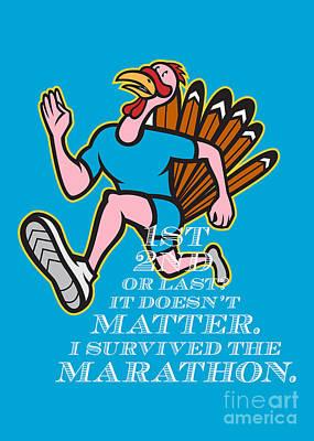 Poultry Digital Art - Turkey Marathon Runner Poster  by Aloysius Patrimonio