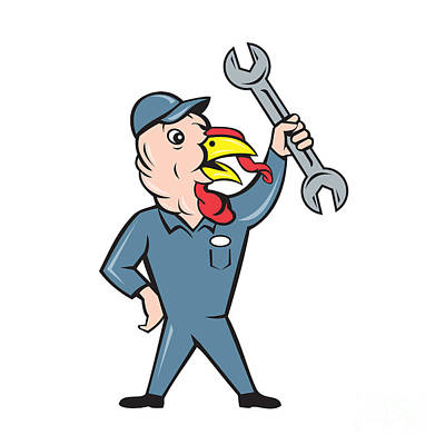 Turkey Mechanic Spanner Isolated Cartoon Art Print by Aloysius Patrimonio