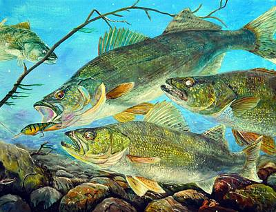 Pike River Painting - Turkey River Walleye by Alvin Hepler