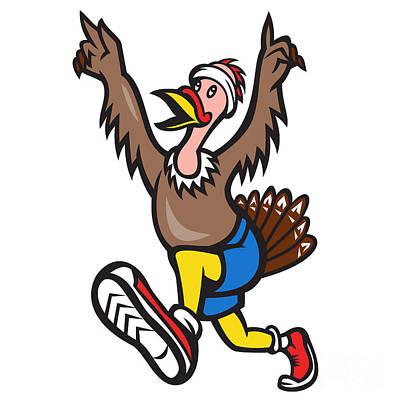 Poultry Digital Art - Turkey Run Runner Cartoon Isolated by Aloysius Patrimonio