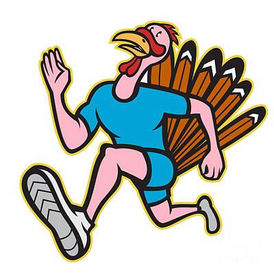 Poultry Digital Art - Turkey Run Runner Side Cartoon Isolated by Aloysius Patrimonio