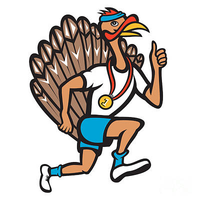 Poultry Digital Art - Turkey Run Runner Thumb Up Cartoon by Aloysius Patrimonio