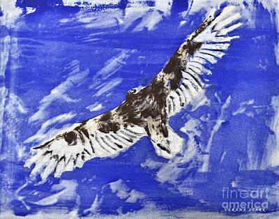 Vulture Mixed Media - Turkey Vulture Monoprint by Verana Stark