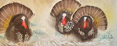 Turkeys Art Print by Yoshiko Mishina