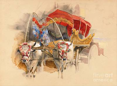 Turkish Painting - Turkish Araba Drawn By White Oxen by Pg Reproductions