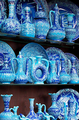 Photograph - Turkish Blue Glazed Pottery by Rick Piper Photography