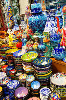 Grand Bazaar Photograph - Turkish Ceramic Pottery 1 by David Smith