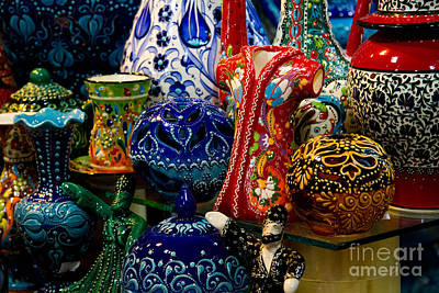 Grand Bazaar Photograph - Turkish Ceramic Pottery 2 by David Smith