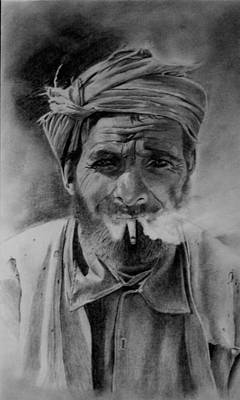 Drawing - Turkish Smoker by Derrick Parsons