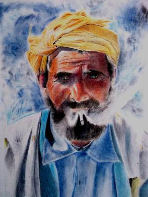 Drawing - Turkish Smoker In Colour by Derrick Parsons