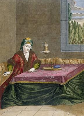 Turkey Drawing - Turkish Woman Spinning Thread, C.1708 by French School